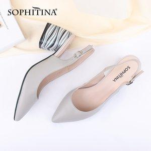 SOPHITINA Sexy Spitzschuh-Sandelholz-Qualität Lammfell Fashion Buckle Komfortabler Platz Heel-Schuhe Flache Sandalen Neue LJ200925