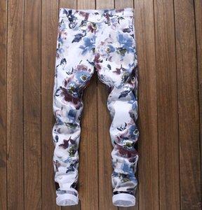3D stampa floreale Pantaloni Denim Jeans Stretch Skinny Fiore Uomo Painted modello Slim pantaloni Dimensioni 29-38 # 5009