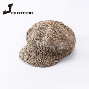 Stingy Brim Hats Fashion Panama Straw Hat Beret Solid Color Seagrass Lady Sunshade Sun Spring And Summer Female Octagonal Draft Cap