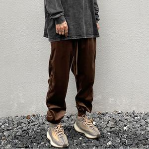 Casual Velvet solide Pantalons Hommes et femmes Oversize Streetwear Drawstring lâche Hip Hop Sweatpants Baggy Pantalon Sweat