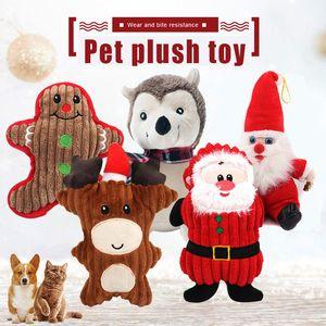 Собака Chew игрушки Щенок милый мультфильм Звук игрушки Рождество Молярная плюшевые куклы Soft для Pet PR продажи