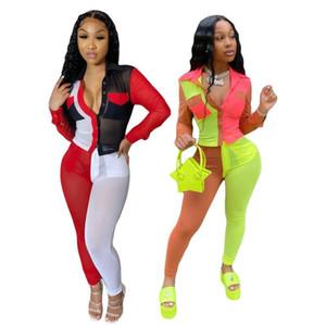 Echoine Sport maglia trasparente Donne insieme a due pezzi della rappezzatura camicetta matita Jogger pantaloni della tuta Suit Tuta abbinabili Outfits