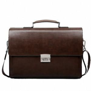 Business Man Bag Theftproof Lock PU Leather Briefcase For Man Pure Bank Mens Briefcase Bag Dress Handbag gpdR#