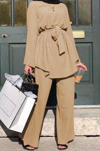 2020 Dress Women 2pecs Set Blouse Wide Leg Pants Dubai Abaya Lace-up Solid Ropa Kaftan UAE Islamic Turkey African