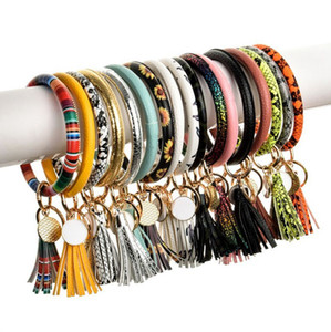 35 colors Leather Tassels Bracelet Keychain PU Wrist Key Ring Sunflower Leopard Patterns Bangle Key Holder Dia 8cm KHA740