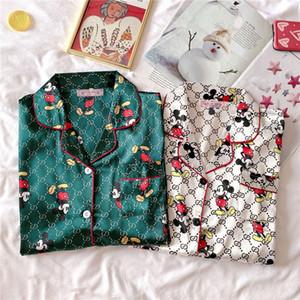 패션 잠옷 커플 남여 실크 꽃 인쇄 잠옷 소프트 파자마 여성 파자마 세트 # 896 긴 소매 남자 라운지 Pijamas을 설정합니다