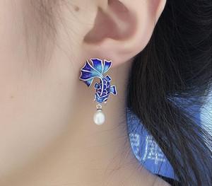 Kadınlar Emaye Etnik Moda Jewelry99 için Balmora 925 Gümüş Simüle-İnci Japon Balığı Retro saplama Küpe