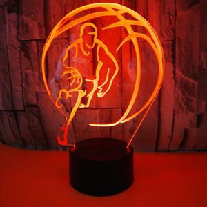 원격 제어 충전 3D 램프 다채로운 농구 스테레오 비전 터치 밤 빛 분위기 램프 공장 직접 판매를 3D