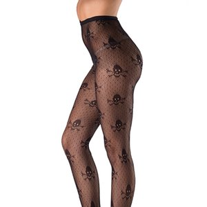 Skull Jacquard Sexy Pantyhose Stockings European And American Hollow Waist And Legs Stockings Halloween Fishnet Stockings