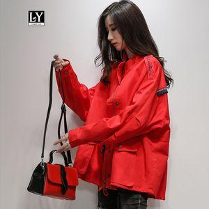 Ly Varey Lin printemps femmes coupe-vent en vrac Veste Casual simple boutonnage Big Pocket Broderie Manteau Femme Glands-vêtement