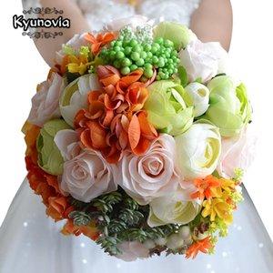 Kyunovia bouquet de mariage coloré Roses assorties Camélias accessoires de mariage bouquet fleurs mariée FE14