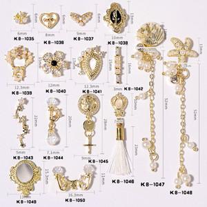 10 pezzi Shiny zircone pendente della perla del chiodo 3D della decorazione di arte di lusso della catena dei monili del braccialetto in lega di nozze Manicure Accessori Design