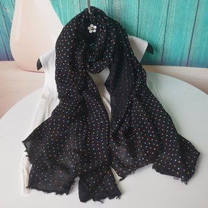 Foulard Femme Musulman Soft Cotton Scarf Women Hhijab Large Scarf Shawl Dot High Quality Wraps Black Designer Scarve