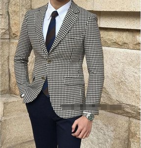 2020 Houndstooth Casual Men Suits Groom Tuxedos Wedding Party Tuxedos For Men Formal Dinner Wear Best Man Suit Blazer With Pants