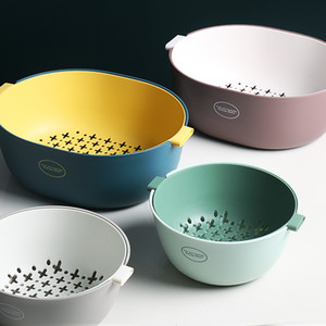 O&U Style High Quality Fruit Vegetables Washing Basket With Handle Double-layer Colander Kitchen Strainer T200323