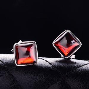 de las mujeres nNgs6 rojo simple granate de piedra de ágata temperamento pendientes de ágata calcedonia granate pendientes Corea personalidad 925