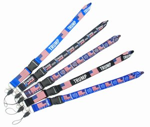 2020 new design Lanyard neck strap hanger for ID card holder key trains with buckle the US flag Trump Make America Great Again free shipping