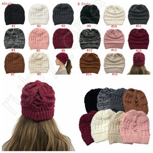 Women Knitted Ponytail Caps Criss Cross Ponytail Beanie Winter Warm Wool Knitting Casual Hat Christmas Party Hats SEA SHIPPING RRA3626