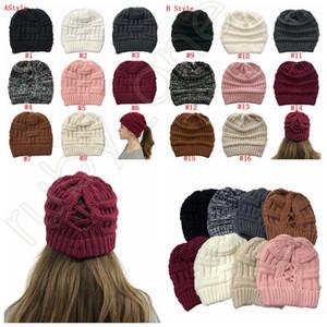 Женщины Трикотажные хвостик Caps Criss Cross хвостик Beanie зима теплая шерсть Вязание Повседневная Hat Christmas Party Hats SEA SHIPPING RRA3626