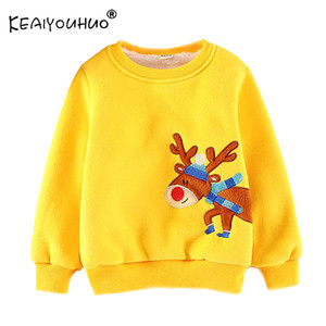 KEAIYOUHUO Sweat Vêtements de bébé garçon pour les adolescents de Noël à manches longues Elk Broderie Plus Haut Velvet Sweats à capuche pour les filles 2-6Age