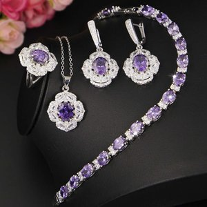 2020 New Arrival Elegant Jewelry Sets Purple Crystal 3 Piece Set Necklace Earrings Ring for Women Girls