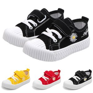 Kids Flower Print Canvas Shoes Boys Girls Low Top Trainers Children Casual Shoes Breathable Running Sports D30