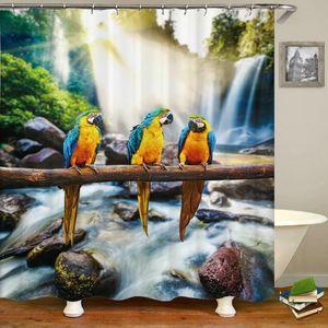 Oiseaux colorés Parrot rideau de douche 3d imprimé bain rideaux Salle de bain imperméable lavable en tissu Rideaux de bain avec des crochets