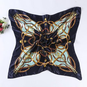 New Fashion Colors Chain Print Satin Square Scarf Women Imitated Silk Scarves Large Size Polyester Shawl Hijab