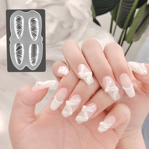 Designs New 3D Silicone prego Carving Mold DIY Acrílico borboleta Bow Coração Mold Stamping Template Nails Stencils Manicure Tools