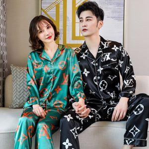 Çift İpek Saten Pijama Uzun Kollu Çiçek Baskılı pijamalar Pijama Takım Elbise Kadınlar Ve Adam Ekose Pijama 2PC Seti Loungewear T200707 # 784
