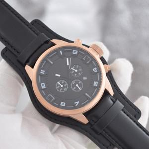 Порты автомобилей мужские часы Браун ремешок черный стальной корпус кварцевый хронограф Наручные часы
