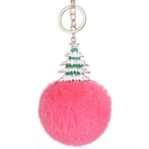 Fur Pom Pom Keychains Fake fur ball porte clef pompon de fourrure fluffy Bag Charms Alloy Christmas Tree Keyring