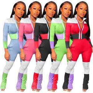 Женщины Tracksuit Две пьесы Установить тонкий сексуальный моды Streetwear печать цвета контраста Zipper дамы куртки повседневные костюмы Спортивная одежда Костюмы
