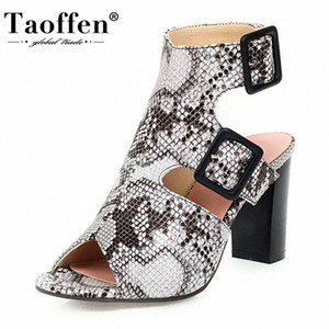 TAOFFEN Snakeskin Pattern Women Sandals Fashion Open Toe Buckle Shoes Women Square Heel Vintage Sexy Party Footwear Size 34 43 Designe YwY2#