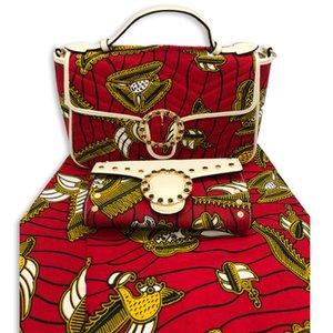 Горячие продажи Мода хлопок воск ткани и мешок Установить 2020 Новейший African Причинная сумка и ткань Match Set для партии