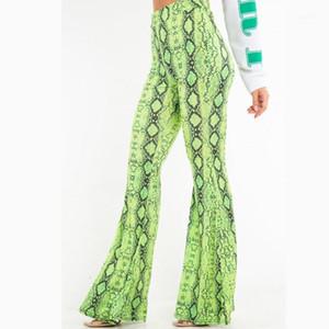 Tasarımcı Giyim Kadın Yılan Desen Flare Pantolon Moda Yüksek Bel Sıkı pantolon Casual uzun pantolon 20ss Kadınlar