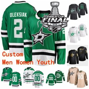 Personalizzato 2020 Dallas Stars Stanley Cup Final Jake Oettinger Jersey 2 Jamie Oleksiak 18 Jason Dickinson 39 Joel Hanley 25 Joel Kiviranta Stitch