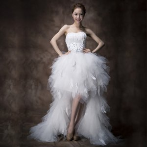 Frau Win Brautkleid Liebsten vordere kurze Beck Lange Ballkleid Prinzessin Luxuxfeder Hochzeit Dresse Vestido De Noiva