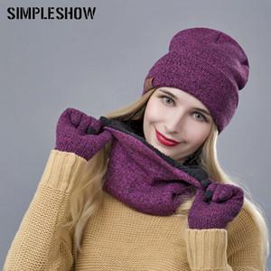 Diseñador de la marca bufanda de las mujeres guantes del sombrero del juego Three-Piece Set invierno caliente femeninos sombreros bufandas unisex envío de la gota