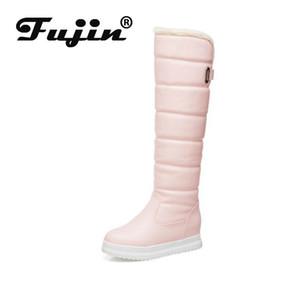 Fujin Alto Stivali Donne inverno Fluffy Warm Snow Boots alto di cotone impermeabile peluche tenere in caldo i pattini lungo Student cotone