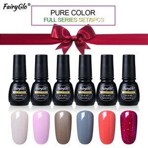 FairyGlo 6pcs box Nail Gel Set UV Pure Color Gel Nail Polish Kit Hybrid Varnish Paint Gellak Lucky Lacquer Stamping Ink Glue