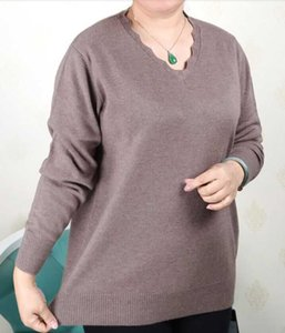 Plus Size Women Clothing 5XL 6XL7XL 8XL 9XL Large Size Middle Aged Clothes Mother Cashmere Sweater Knitted Shirt Long Sleeve Y200819