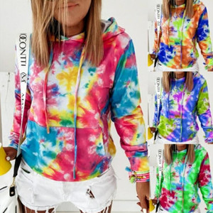 Tie Dye Hoodies Women Sweatshirt Casual O-Neck Long Sleeve Blusas Harajuku Hooded Sweatshirts Fashion Designer Women Costume AAB1256