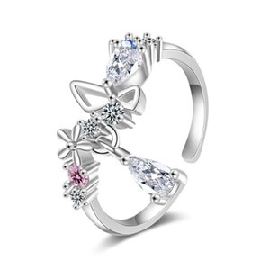Sweet 925 Sterling Silver Crystal Flower Bowknot Rings For Women Wedding Birthday Finger Ring Creative Fine Jewelry jz511