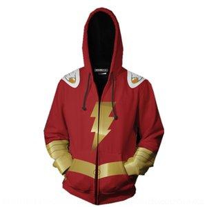 BrkHN super héroe Shazam DC película trueno encapuchado 3D impreso cremallera chaqueta con capucha sudadera con cremallera suéter Shazam deportes