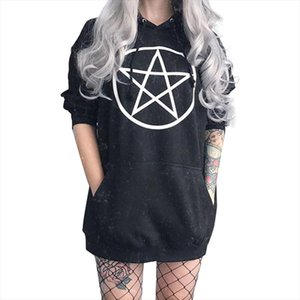 Gothic Pentagram Hoodies Women Sweatshirt Black Unisex Pullover Tumblr Hispter Casual Tops Dark Fahion Outfit Drop Shipping