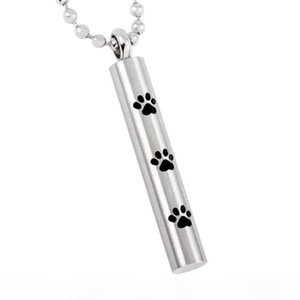 DJX8347 Tube Shape Cremation Urn Pendant for Pet Stainless Steel Paw Print Cylinder Keepsake Memorial Ashes Necklace Unisex
