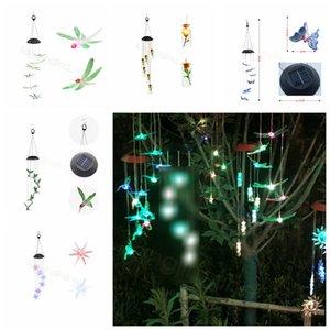 Солнечный ветер куранты светодиодные Hummingbird Подарок Цвет LED обесцвечивание Декор сада висячего Light Wind Chime орнаменты FFA3199-2