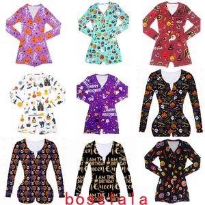 Женщины Комбинезоны Новый Хэллоуин Printed Повседневная мода с длинным рукавом Rompers V шеи Короткие Комбинезоны Женщины Плюс Размер Горячий продавать