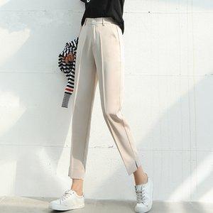 Spring Summer Solid 2020 New Korean Style Split Women Formal Harem Pants Pocket Mid Waist Elegant Office Lady Chic Pants